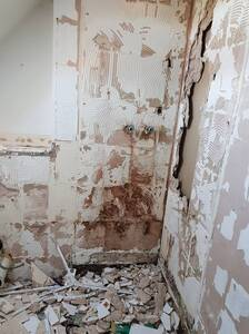 Leaking shower has destroyed the plasterboard, all replaced.